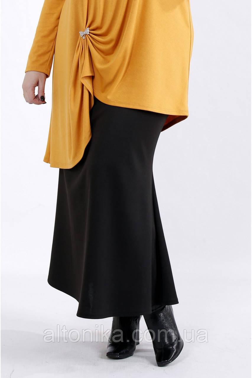 Черная длинная трикотажная юбка | 42-74