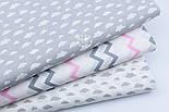 """Ткань бязь """"Маленькие облака разных размеров"""" серые на белом, коллекция Mini-mikro, №1885а, фото 3"""