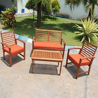 """Комплект мебели """"Olivia"""" из тихоокеанской черешни меранти (стол+диван+2 кресла)"""