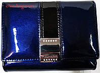 Синий кожаный кошелек с замочком, фото 1