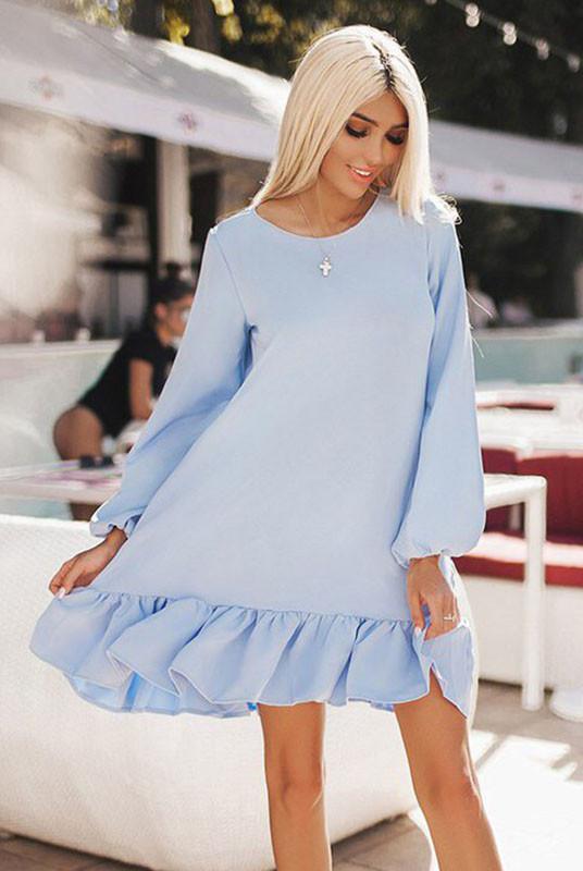 Платье большого размера Розалия голубой