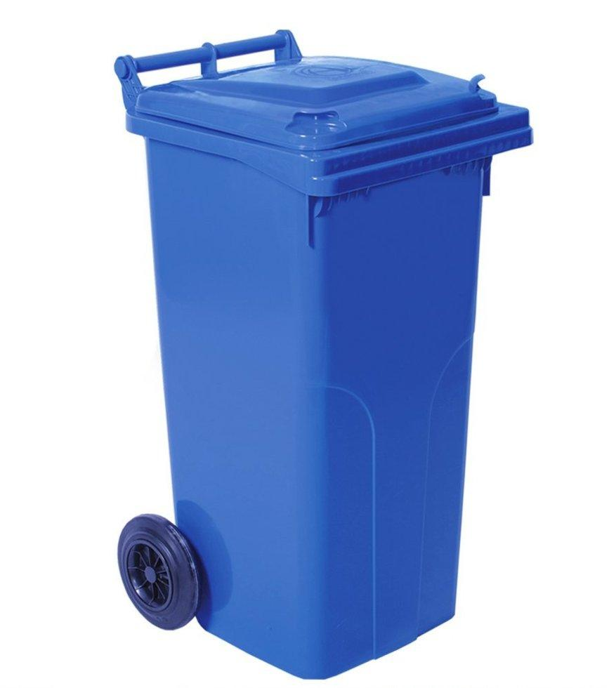 Бак для мусора на колесах с ручкой 120 л