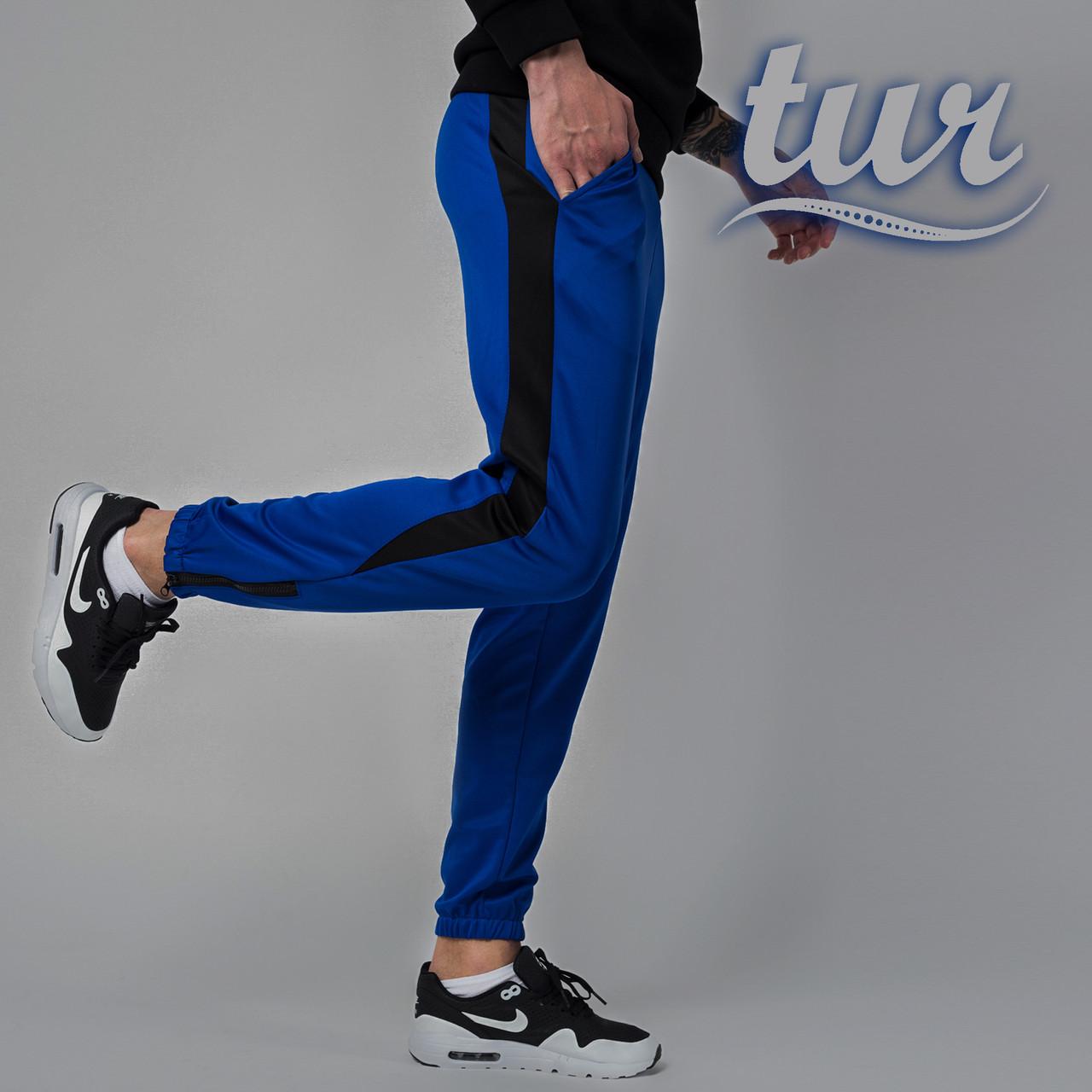 Спортивные штаны синие (электрик) с лампасами мужские от бренда ТУР модель Рокки (Rocky) размер XS, S, M, L,XL