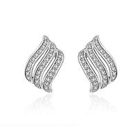 Серебряные серьги Волна 925 пробы, серьги из стерлингового серебра, серьги с камнем кубический цирконий , фото 1