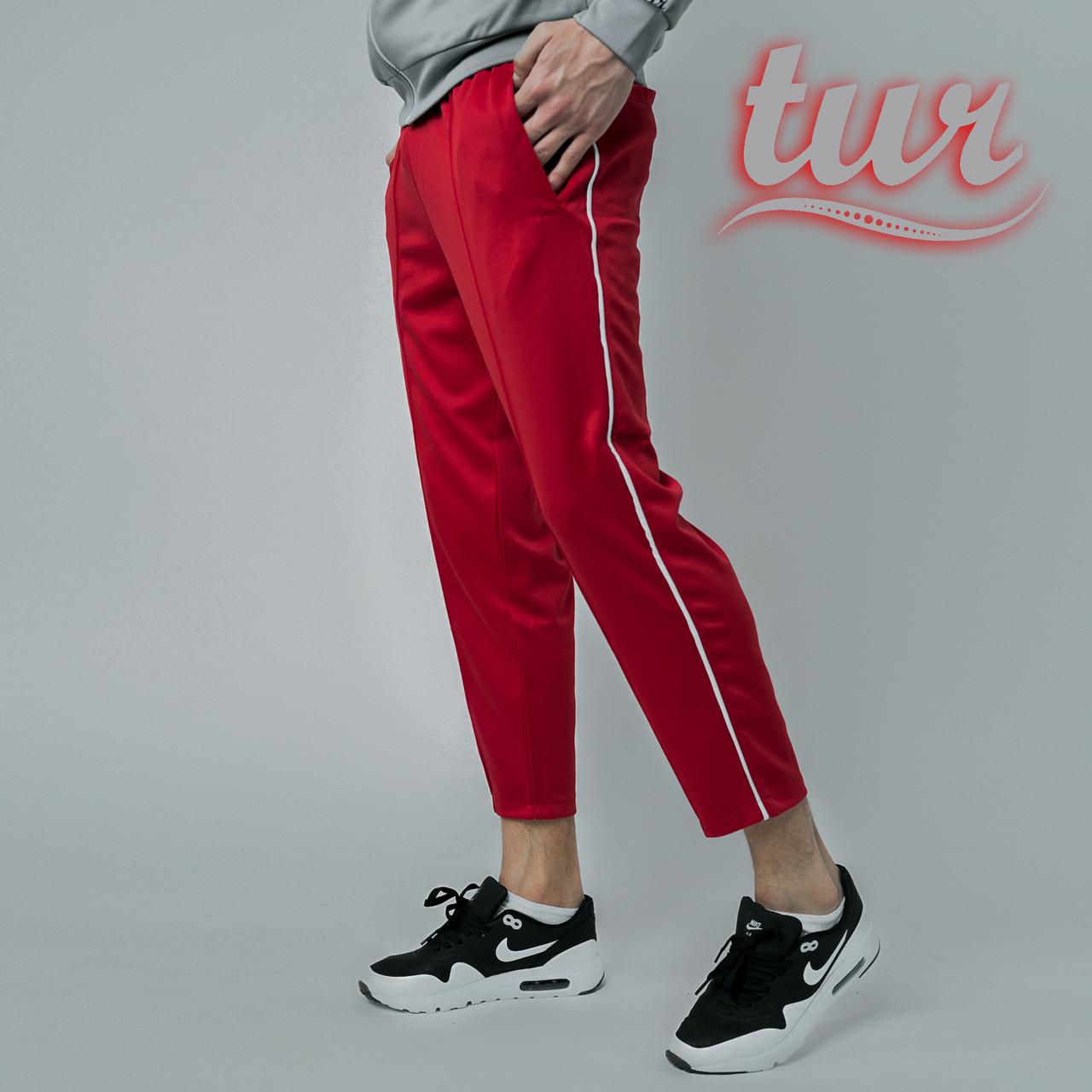Cпортивные штаны мужские красные с полосками от бренда ТУР модель Кейдж (Cage) размер S, M, L, XL