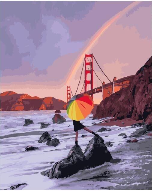 """Картина по номерам """"Радуга над мостом Сан-Франциско"""""""