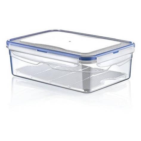 Контейнер для хранения с крышкой, с решеткой, 1.4 л, прозрачный/синий, фото 2