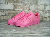 Кроссовки Adidas Superstar реплика (натуральная кожа) размер 39,40 розовый, фото 1
