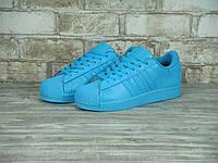 Кроссовки Adidas Superstar реплика (натуральная кожа) размер 39,40 голубой, фото 1