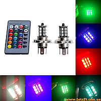 Авто-лампы H4 + стробоскоп с пультом ДУ (светодиодные лампочки 27 LED RGB)