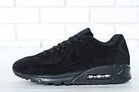 Зимние мужские кроссовки Nike Air Max 90VT Fur реплика ААА+ (нат. замша с мехом) р. 41-46 черный (живые фото)
