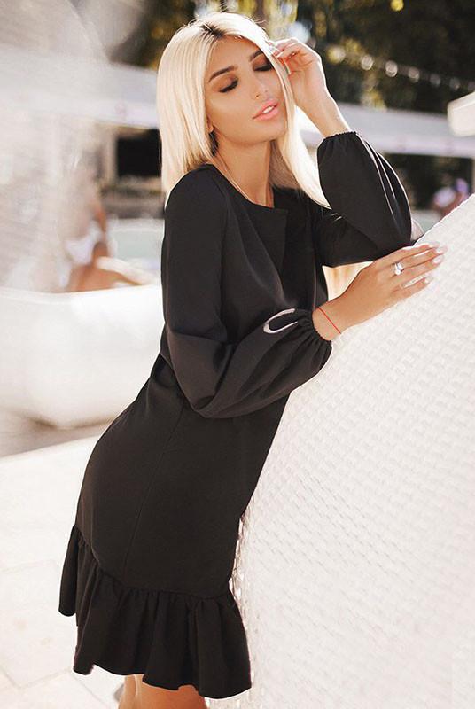 Платье большого размера Розалия черный