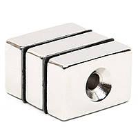Магнит неодимовый прямоугольный с отверстием для потайного винта 20х10х3  отверстие D6,5/3мм