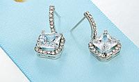Серебряные серьги 925 пробы, серьги из стерлингового серебра, кубический цирконий, код (0110), фото 1