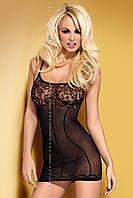 Прозрачное облегающее платьице с кружевным лифом Черный