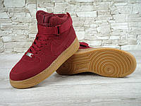 Кроссовки Nike Air Force реплика ААА+ (натуральная замша) размер 36-37 красный, фото 1