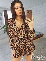 Комбинезон ромпер женский с шортами с поясом леопардовый принт Ds1297