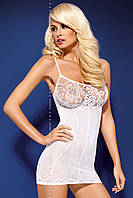 Прозрачное облегающее платьице с кружевным лифом, белая сетка