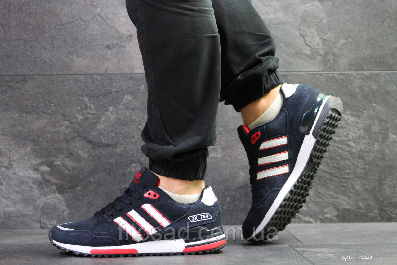 e2ddb7fa58ccec Чоловічі Кросівки Adidas ZX750, Темно Сині З Червоним — в Категории ...