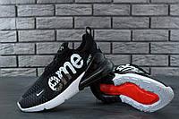 Кроссовки мужские Nike Air Max 270 Supreme реплика ААА+ размер 41-45 черный (живые фото), фото 1