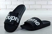 Шлепанцы Supreme Slippers реплика ААА+ размер 41-44 черный (живые фото)