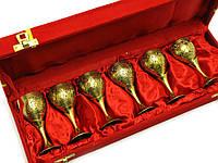Бокалы бронзовые позолоченные(н-р 6 шт)(h-9 см)(36х12х5 см)(Cordial Set-5 Designs GOLD)