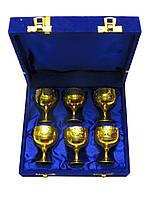 Бокалы бронзовые позолоченые(н-р 6 шт)(h-5,5)(18,5х15,5х5,5 см)(Velvet Box Goli Set Velvet Box gold)