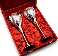 "Бокалы бронзовые посеребренные  (н-р 2 шт)(h-21 см(27х20х8,5 см)(Velvet Box-Goblet 9""Set -2ps)"