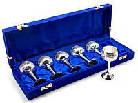 Бокалы бронзовые посеребренные  (н-р 6 шт)(34,3х12,5х5,5 см)(Velvet Box-Cordial Set-5 Designs)