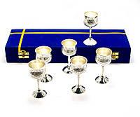 Бокалы бронзовые посеребренные  (н-р 6 шт)(h-11 см)(34,3х12,5х5,5 см)(Velvet-Goblet Med-5)