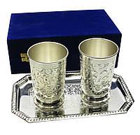 Бокалы с подносом бронзовые посеребренные  (н-р 2 шт)(25х16х8,5см)(Velvet Box-Glass Set-2ps+Tr)