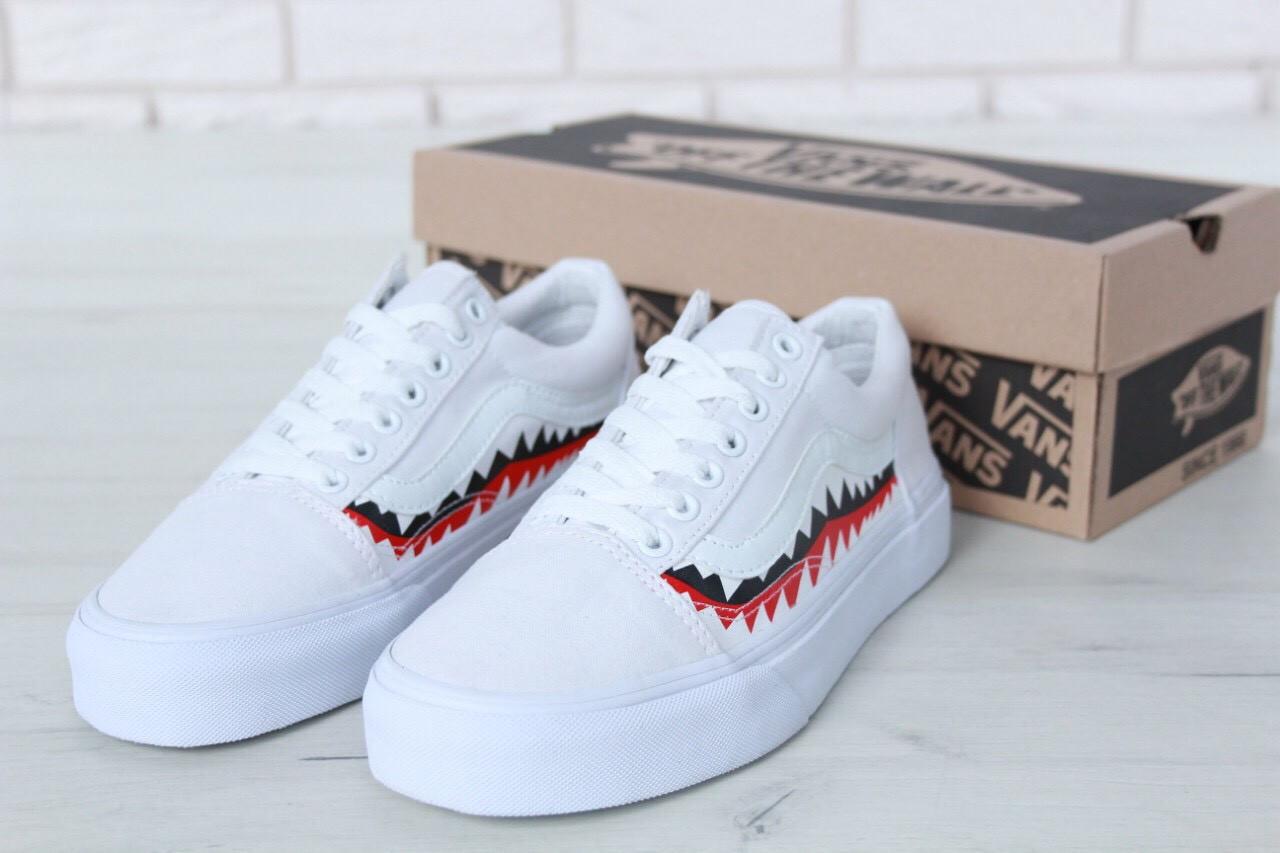 "Кеды Vans х BAPE Old Skool ""Shark"" реплика AAA+ размер 35-45 белый (живые фото), фото 1"