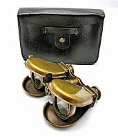 Бинокль бронзовый в кожаном чехле (14х9х3 см)