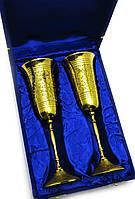 "Бокалы бронзовые позолоченные  (н-р 2 шт)(h-23 см)(26,5х18х9 см(Goblet 9""Set -2ps GOLD)"