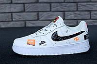 Кроссовки мужские Nike Air Force 1 Low Just Do It Pack реплика ААА+ (нат. кожа) р. 45 белый (живые фото), фото 1