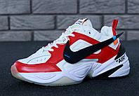 Кроссовки мужские Off-White x N*ke M2K Tekno реплика ААА+ (натуральная кожа) размер 42-44 красный (живые фото), фото 1