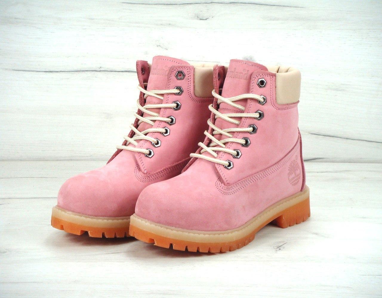 Зимние ботинки женские Timberland реплика ААА+ (нат. нубук и нат. мех) размер 37-40 розовый (живые фото), фото 1