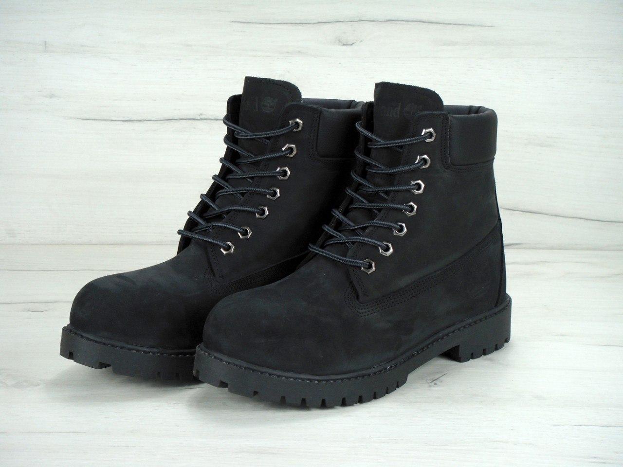 Зимние ботинки Timberland реплика ААА+ (нат. нубук и нат. мех) р. 36-45 черный (живые фото), фото 1