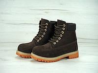 Зимние ботинки Timberland реплика ААА+ (нат. нубук и иск. мех) размер 36-43 коричневый (живые фото), фото 1