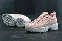 Кроссовки женские Fila Disruptor II реплика ААА+ (натуральная кожа) размер 36-41 розовый(живые фото), фото 1