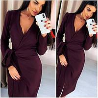 Платье-халат цвета марсала Janett (Код MF-413)