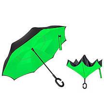 Ветрозащитный зонт обратного сложения UP-brella, АП брелла зонт с ветрозащитой умный зонт. Акция! Зеленый, фото 2