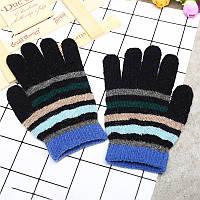 Перчатки весна/осень для мальчика черные в полоску, черные опт, фото 1