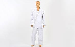 Кимоно для джиу-джитсу белое VELO VL-6650 (хлопок, р.5 (180см), пл. 350г на м2, без пояса