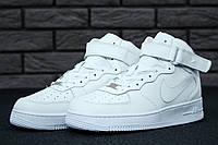 Кроссовки Nike Air Force реплика ААА+ (натуральная кожа) размер 43-45 белый (живые фото), фото 1