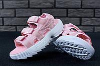 Сандали женские FILA Disruptor Sandals реплика ААА+ размер 36-39 розовый (живые фото)