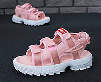 Сандали женские FILA Disruptor х Supreme Sandals реплика ААА+ размер 36-39 розовый (живые фото), фото 1