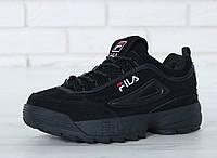 Зимние кроссовки Fila Disruptor II Fur реплика ААА+ (натуральная замша с мехом) р. 36-45 черный (живые фото), фото 1
