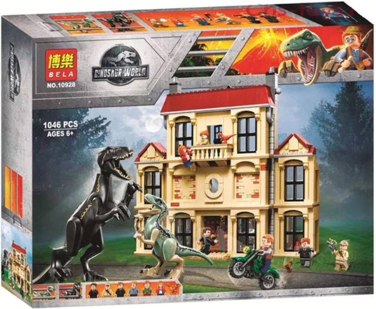 """Конструктор Bela 10928 """"Нападение Индораптора в поместье Локвуд"""" (аналог Lego Jurassic World 75930), 1046 дет."""