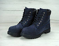 Зимние ботинки мужские Timberland реплика ААА+ (нат. нубук и искусственный мех) р. 41 синий (живые фото), фото 1